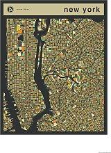 Habitat Jazzberry Blue New York Map Wall Art