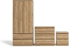 Habitat Jenson 3 Piece 2 Door Wardrobe Set - Oak