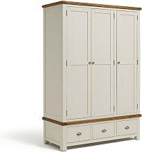 Habitat Kent 3 Door 3 Drawer Wardrobe - Cream & Oak