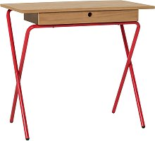 Habitat Kirby Oak and Red Gloss Desk with 1 Drawer