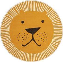 Habitat Lion Faced Circle Short Pile Rug Yellow -