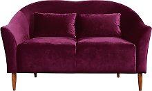 Habitat Lipps 2 Seater Velvet Sofa - Cranberry