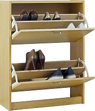 Habitat Maine 4 Shelf Shoe Storage Cabinet - Oak