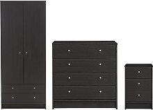 Habitat Malibu 3 Pc 2 Dr Wardrobe Set - Black Oak
