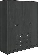 Habitat Malibu 4 Door 3 Drawer Wardrobe - Black