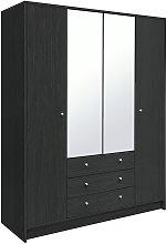 Habitat Malibu 4 Dr 3 Drw Mirror Wardrobe - Black