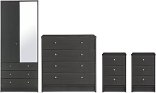 Habitat Malibu 4 Pc 2 Dr Wardrobe Set - Black Oak