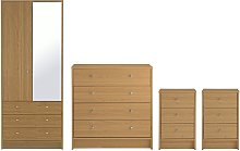 Habitat Malibu 4 Piece 2 Door Wardrobe Set - Oak