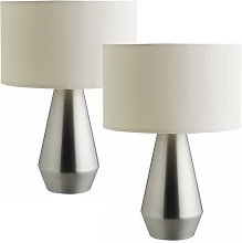Habitat Maya Pair of Touch Table Lamps - Silver &