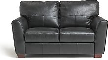 Habitat Milford 2 Seater Leather Sofa - Black