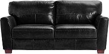 Habitat Milford 3 Seater Leather Sofa - Black