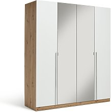 Habitat Munich 4 Door 2 Mirror Wardrobe-White /Oak
