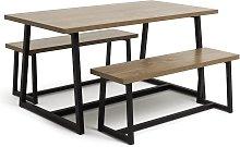 Habitat Nomad Oak Effect Dining Table & 2 Benches