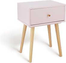 Habitat Otto 1 Drawer Bedside Table - Pink