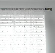 Habitat Pom Pom  Sheer Voile Curtain Panel - White