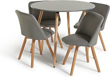 Habitat Quattro Grey Dining Table & 4 Grey Chairs