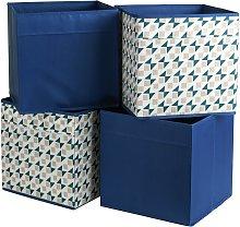 Habitat Set of 4 Square Boxes - Blue & Pink