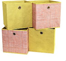 Habitat Set of 4 Squares Boxes - Orange Grid