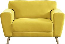 Habitat Snuggle Velvet Armchair - Yellow