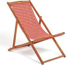 Habitat Wooden Deck Chair - Geo Orange