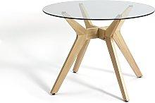 Habitat Zela Glass 4 Seater Dining Table - Natural