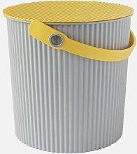 Hachiman - Large Grey Yellow Lidded Storage Bucket