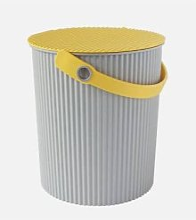Hachiman - Medium Grey Yellow Lidded Storage