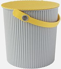 Hachiman - Small Grey Yellow Lidded Storage Bucket