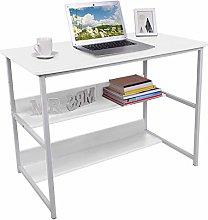 Hadaiis Computer Desk with 2 Tier Storage Shelves,