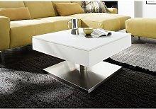 Hadley Storage Glass Coffee Table In Matt White