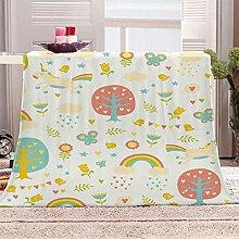 HAHAHAG Flannel Blanket Cartoon Unicorn & Forest