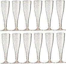 Hainice 12PCS Champagne Flutes Glass Disposable
