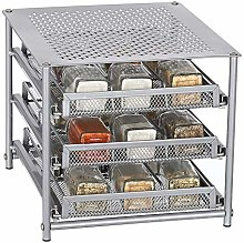 HAITRAL 3 Tier Iron Spice & Herb Stack Easy Hold