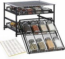 HAITRAL Spice Rack 3 Tier 24-Bottle Spice Drawer