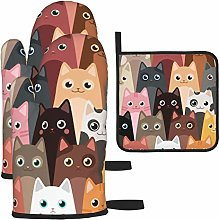 HaiYI-ltd Oven Mitts and Pot Holders 3pcs Set,Cats