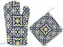 HaiYI-ltd Oven Mitts and Pot Holders Set,Navy And