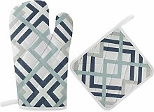 HaiYI-ltd Oven Mitts and Pot Holders Set,Navy Blue