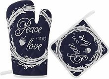 HaiYI-ltd Oven Mitts and Pot Holders Set,Peace And