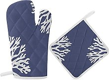 HaiYI-ltd Oven Mitts and Pot Holders Set,Sea Coral