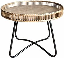 HAIZHEN Sofa tables Wrought Iron Log Side Table,