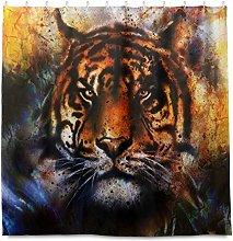 HaJie Bathroom Shower Curtain Art Painting Tiger