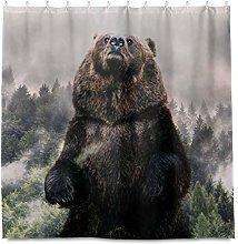 HaJie Bathroom Shower Curtain Forest Tree Wildlife