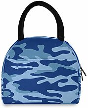HaJie Lunch Bag Classic Navy Blue Camouflage Lunch