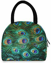 HaJie Lunch Bag Peacock Animal Feather Pattern