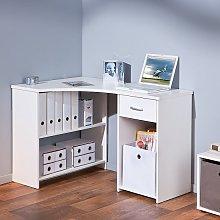 Halifax Corner Computer Desk In White With Drawer