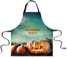 Halloween Apron Witch Flying on Broom Ghost Castle