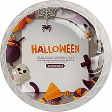 Halloween Background with Flat Icons Drawer Knob