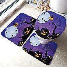 Halloween Bathmat,Pumpkin With Tree And The Moon