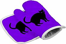 Halloween Black Cat Heat Resistant Oven Gloves