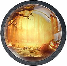 Halloween Night Black Crystal Glass Round Cabinet